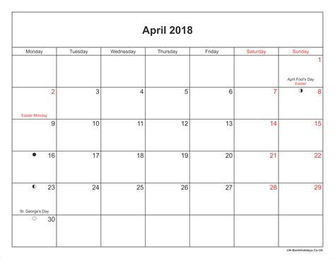 uk bank holidays april april 2018 calendar printable with bank holidays uk