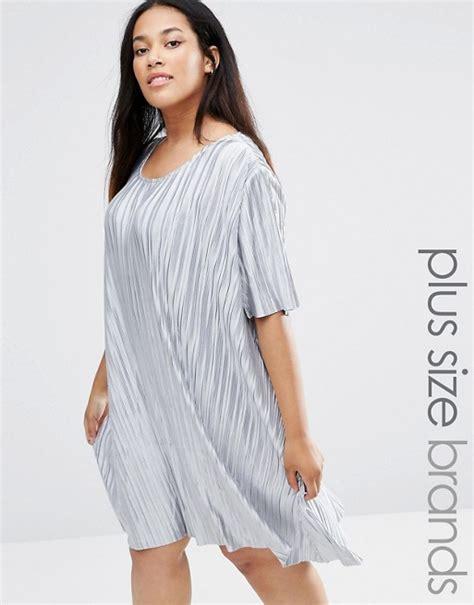 Sweety Silver Xxl36 36 you you plisse t shirt swing dress
