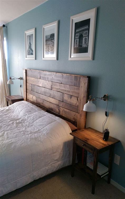 master bedroom   pallet headboard king platform