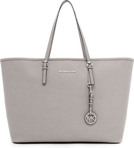 Mk Jetset Travel Pearl Grey michael michael kors jet set medium travel tote in white pearl grey lyst