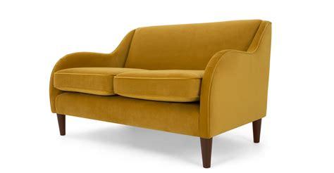 velvet 2 seater sofa helena 2 seater sofa plush turmeric velvet made com