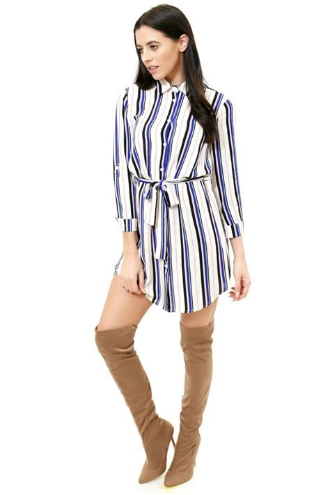 Striped Shirt Dress blue pink stripe shirt dress