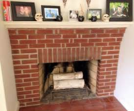 white washed fireplace in progress