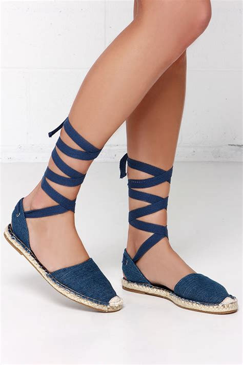 leg wrap sandals blue flats espadrille flats leg wrap sandals 23 00