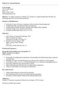 Patient Services Assistant Sle Resume by Patient Care Assistant Resume Exles Patient Care Resume Exles Patient Care Assistant