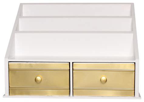 white and gold desk accessories shop houzz uniek desktop file folder organizer with 2