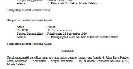 contoh surat kuasa pengambilan sertifikat yang tepat dan benar contoh