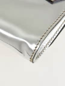 Mirror Clutch Bag by Gucci Silver Metallic Patent Leather Mirror Clutch Bag