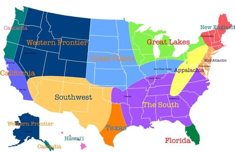 8 regions of the united states map geographies cities places regions