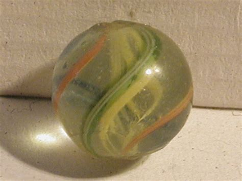 German Handmade Marbles - antique yellow latticino swirl german marble marbles