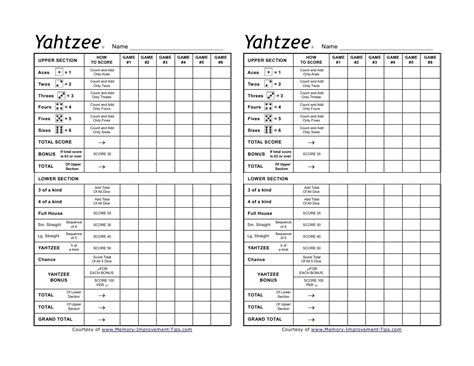 yahtzee score pad template blank yahtzee score sheet printable search results