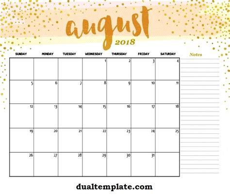 august 2018 calendar august 2018 calendar printable template holidays pdf word