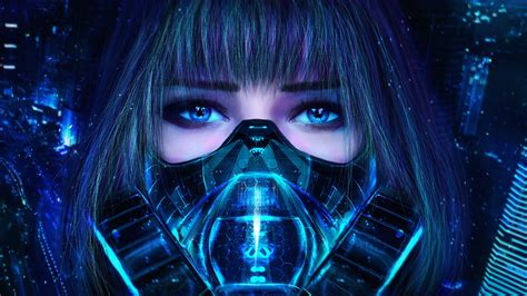 blue wallpaper deviantart girl mask respirator eyes view art cyberpunk hd wallpaper