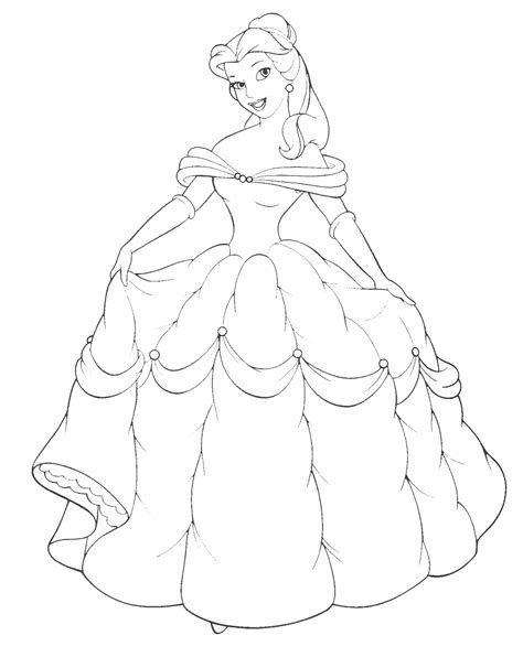Disney Princess Belle And Her Gown Coloring Sheet Princesscoloring Pages Printable