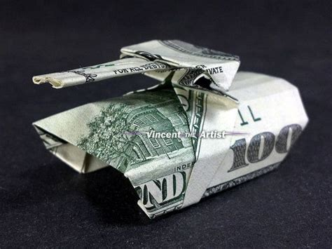 Origami Army Tank - tank money origami dollar bill gift for