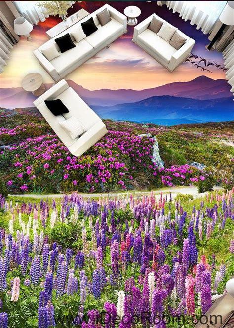sunset mountain purple lavender flowers 00087 floor decals