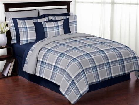 Blue And Grey Comforter Set by Navy Blue And Grey Plaid 3pc Boys