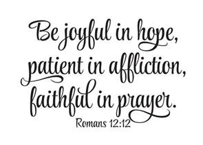 Scripture Wall Art Home Decor Romans 12 12 Vinyl Wall Decal Be Joyful In Hope Patient In