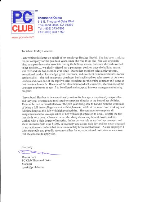 Reference Letter Retail View Recommendation Letter