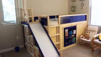 Kura transformed into bed play structure combo ikea hackers