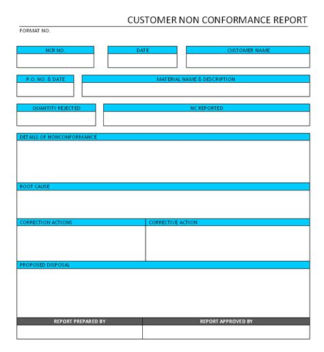 customer non conformance report format sles word