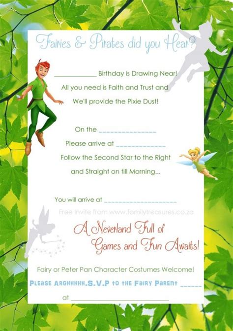 pan invitation template free pan and tinkerbell invite template fairies