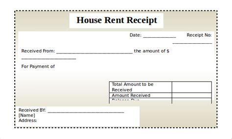 rental receipt template 30 free word excel pdf
