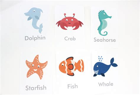 printable ocean animal cards free printable under the sea flash cards