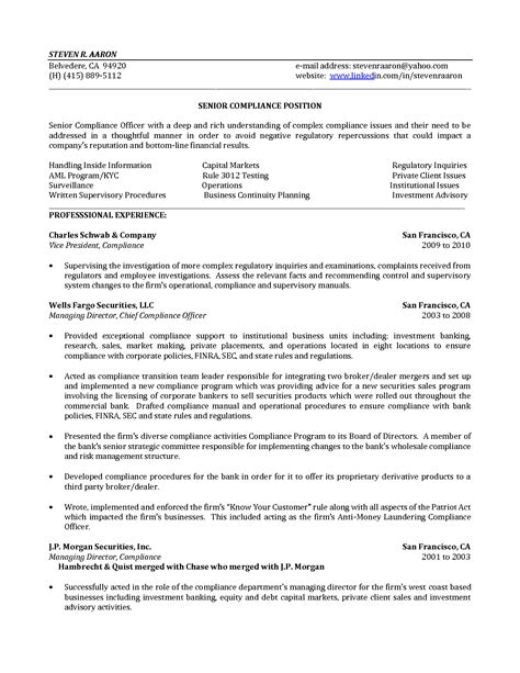 Regulatory Compliance Officer Sle Resume by Compliance Officer Cover Letter Sle Compliance Officer Cover Letter Exle Regulatory