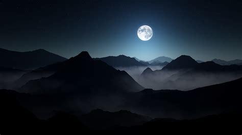 nature landscape mountain mist moon starry night