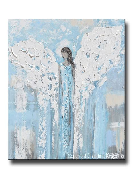original painting abstract blue white guardian