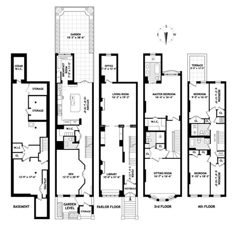 nyc brownstone floor plans brownstone house plans