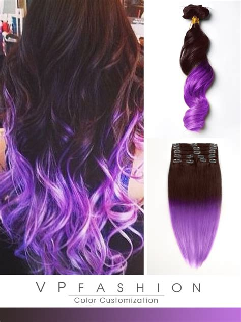 hair extensions purple brown to purple mermaid colorful ombre indian remy clip in