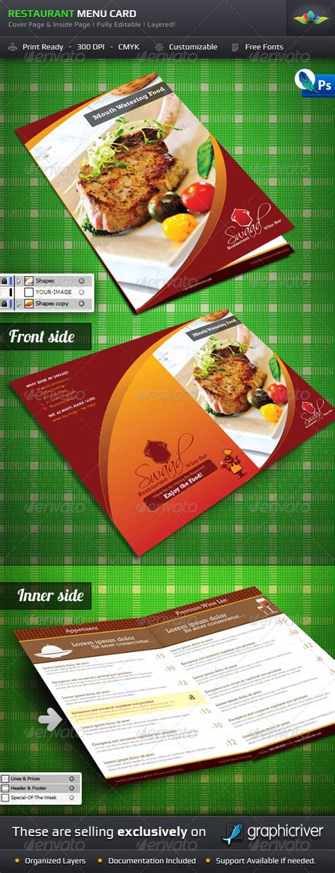 food menu card templates restaurant menu card graphicriver