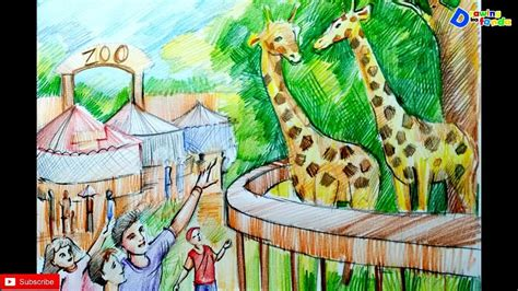 Drawing Zoo by How To Draw Zoo Scenery For