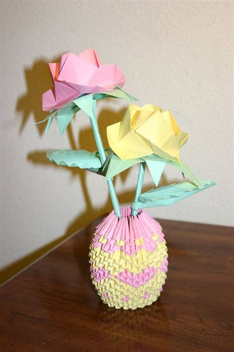 How To Make Origami Flower Basket - 3d origami pink yellow roses with basket by