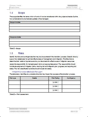 Transition Plan Ms Word Template Instant Download Project Transition Plan Template