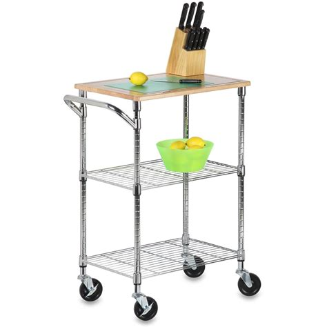 Rolling Kitchen Cart Chrome In Kitchen Island Carts Rolling Cart For Kitchen