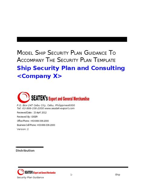 ship security plan guidance ship security plan docshare tips