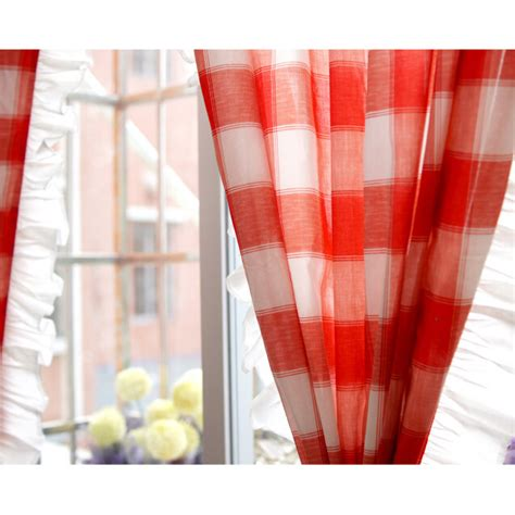 red and white plaid curtains sweet cotton red white ruffled plaid country curtains