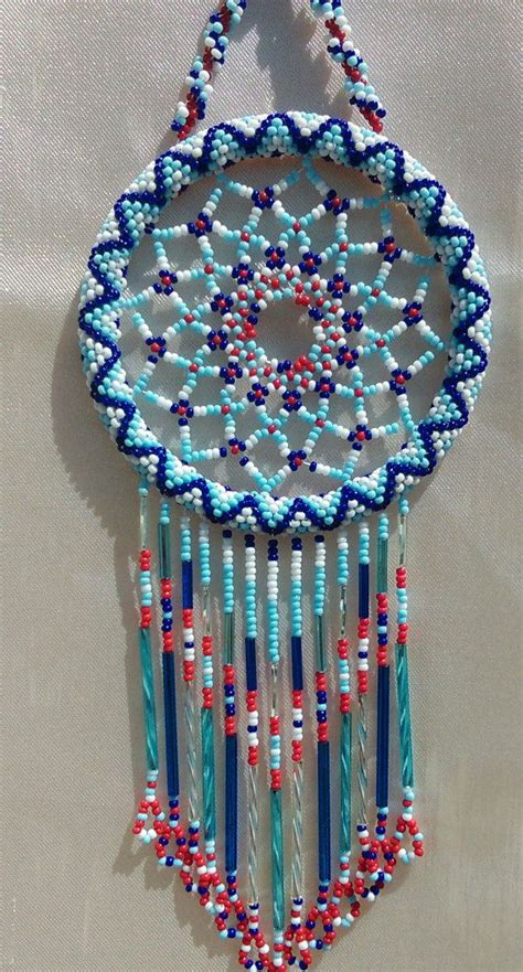 beaded catcher tennessee white and blue glass beaded