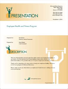 health and fitness program sle proposal