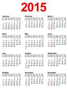 2015 calendar template with holidays 7 best images of annual calendar 2015 printable 2015