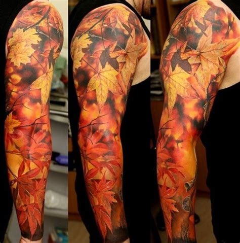 autumn leaves tattoo realistic autumn leaves sleeve best ideas