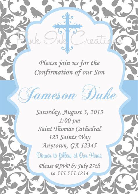 free confirmation invitation templates boys baptism invitation damask baby dedication