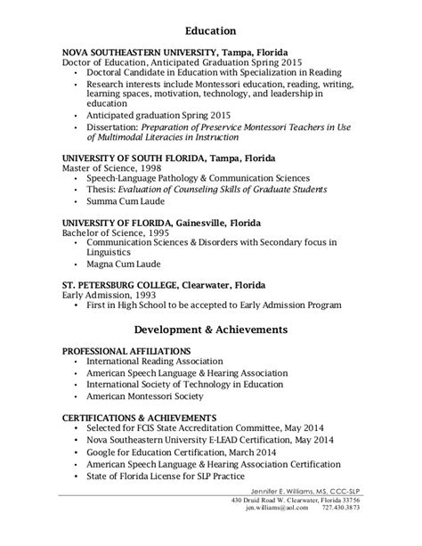 Sle Resume For Speech Language Pathologist Assistant sle grad school resume 28 images sle graduate school