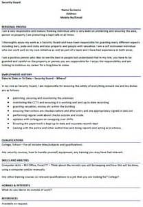 cv template for security guard resume format security