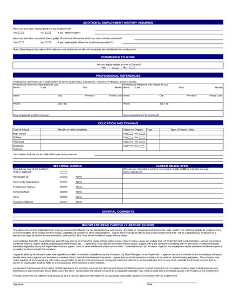 printable job application american eagle american eagle job application form free download