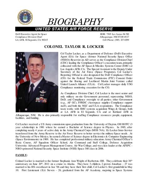 taylor locker dod ea mil bio march 2011