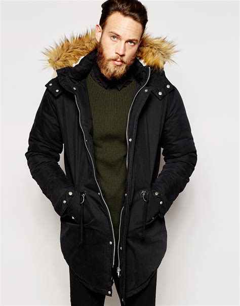 Asos Parka by Asos Parka Jacket With Faux Shearling In Black In